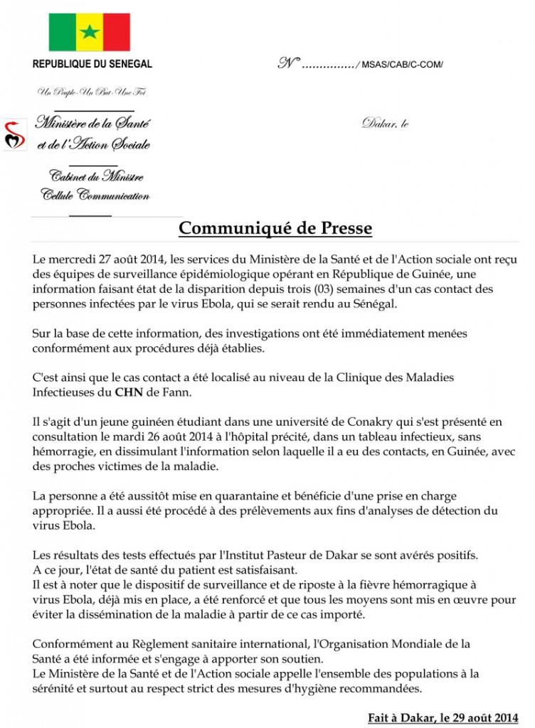 Ebola au Sénégal: Communiqué du Ministère de la Santé