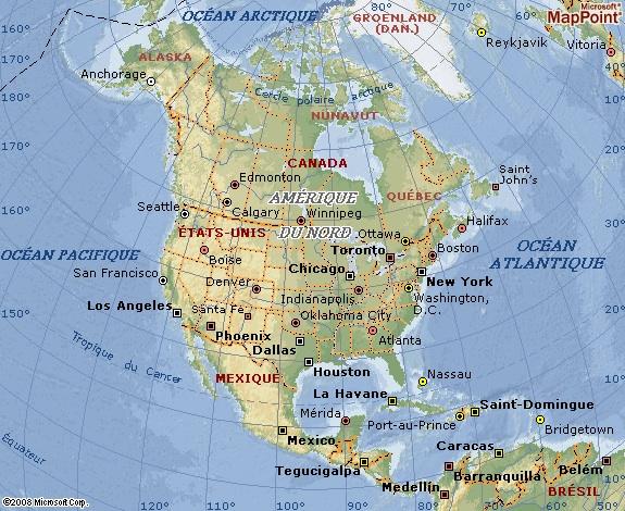 Aperçu de la Carte de l'Amerique. Le Mexique situé dans la zone meridionnale de l'Amerique du Nord.
