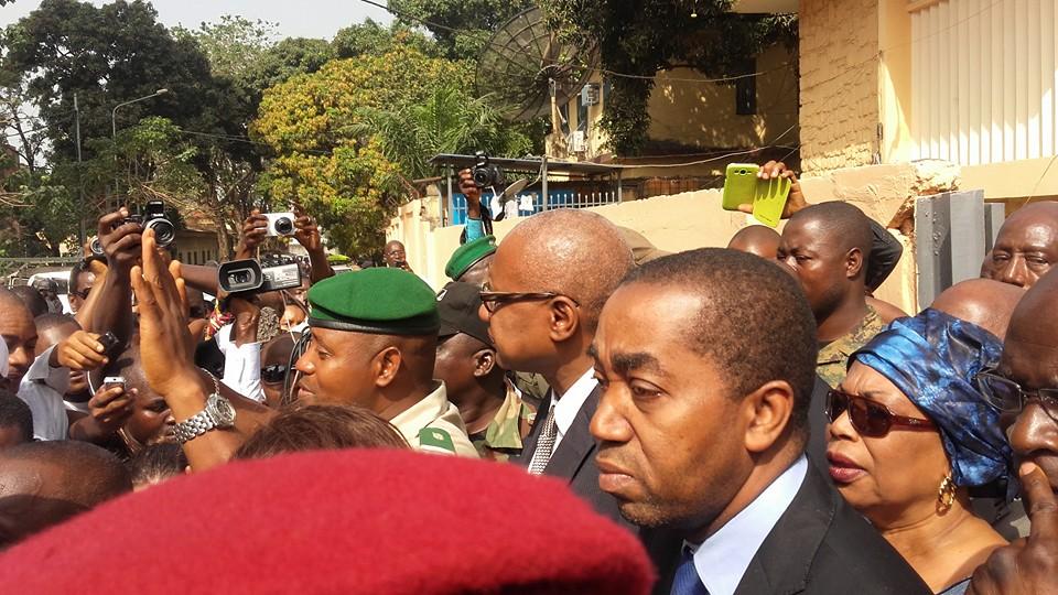 Sur la photo:  En lunette: Me Cheick Sako, Ministre d ela Justice Rachid NDIAYE, Ministre d ela Communication Martine CONDE, Présidente d ela HAC, Haute Autorité de la Communication