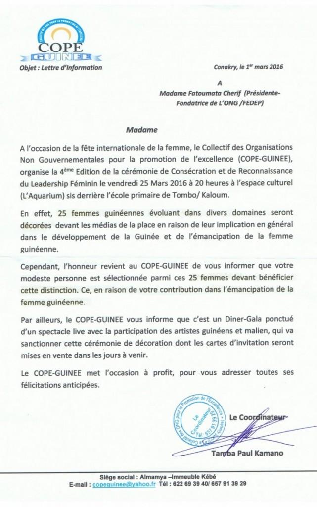 Invitation COPE-GUINEE 25 Mars 2016